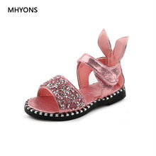 4f920c5de MHYONS 2018 Hot Sale Baby Girl Sandals Fashion Bling Shiny Rhinestone Girls  Shoes With Rabbit Ear Kids Flat Sandals size 21-30