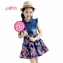 цена на Summer Teenage Girls Dresses Denim Floral Dress Kids Clothes For Cotton Girls Princess Dress 4 5 6 7 8 9 10 11 12 Years vestidos