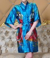 Spring Summer New Women's Bathrobe Kaftan Silk Robe Gown Printing belle Sleepwear Kimono Gown Dropshipping M L XL