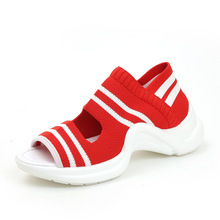 2019 summer new flying woven sandals big children fashion casual muffin thick-soled breathable sneakers