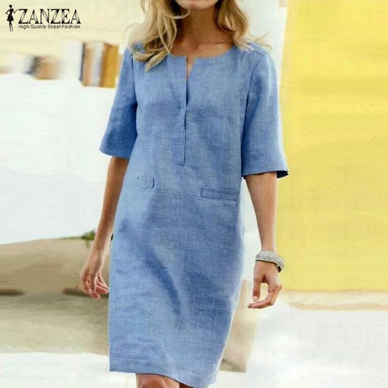 Women's Summer Sundress ZANZEA Ladies Elegant Shirt Dress Tunic Vestidos Casual Short Robe Femme Beach Party Dresses Plus Size