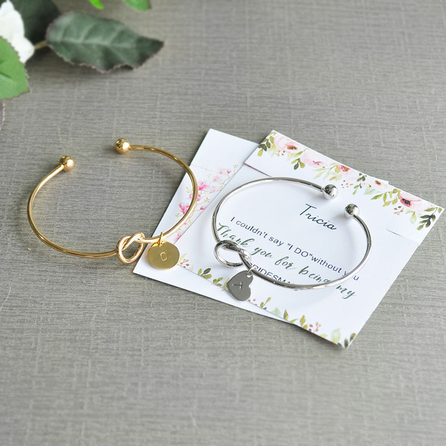 d4d912b1d17 US $8.99 |Personalized Gift for Her,Knot Bracelet,Bridesmaid Bracelet,Will  You Be My Bridesmaid Gift,Wedding Gift,Best Friends Gift-in Party Favors ...