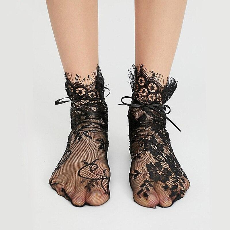 Women's Short Socks Summer Black/White Lace Eyelash Cute Socks Hollow Out Fishnet Socks For Girls Japan Transparent Hosiery