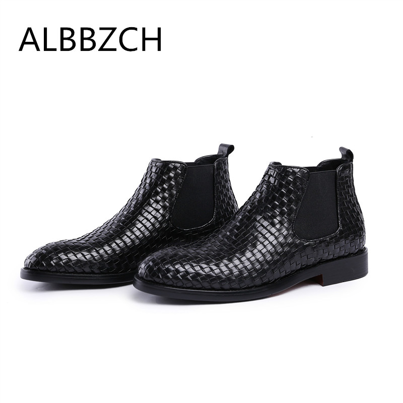 Fashion weave designer genuine leather men boots round toe slip on business dress ankle boots mens office work boots size 38 44Fashion weave designer genuine leather men boots round toe slip on business dress ankle boots mens office work boots size 38 44
