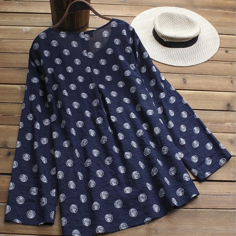 2019 New Female Loose Plus Size Dress Women Long Sleeve Polka Dot Mini Dress Ladies Print Baggy Pleated Crew Neck Dress L 5XL in Dresses from Women 39 s Clothing