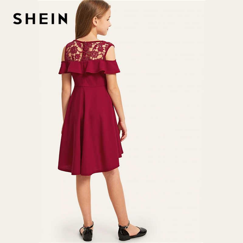 SHEIN Kiddie/гипюровое кружевное праздничное платье для девочек с открытыми плечами и рюшами на подоле 2019 г., летние милые трапециевидные платья раструбом с рукавами-крылышками для детей