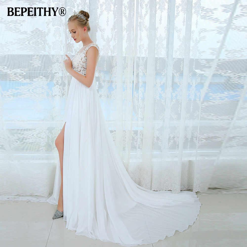 dfda683dd3 ... Vestido De Novia Short Sleeves Beach Wedding Dress 2019 Lace Sexy  Bridal Gowns Chiffon Wedding Dresses ...