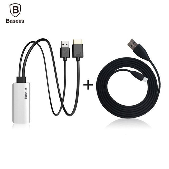 Baseus HD Display Adapter Audio Cable Lightning Male To Male HDMI 1080P For iPhone 7 6 Plus IOS 10 9 TV Computer Projector