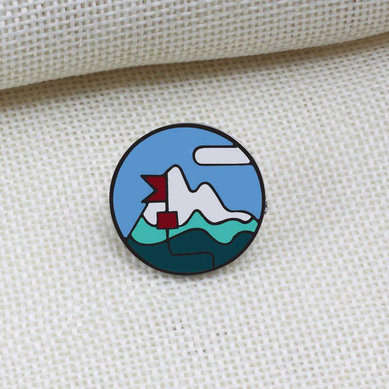 漫画のブローチピンキャンプテントビーチサニー南極氷山アイコンエナメルピンジュエリー男性女性シャツバックパックアクセサリーギフト