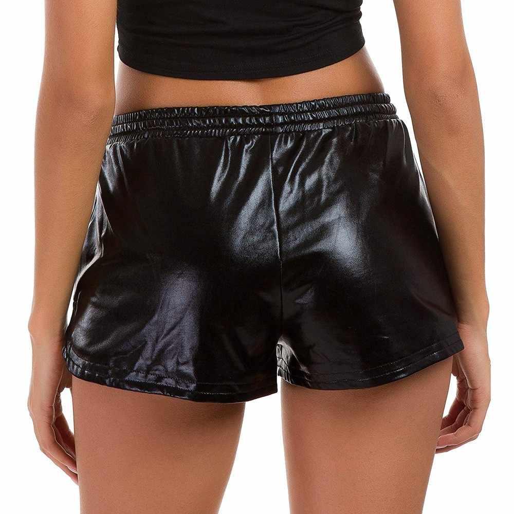 Shorts para mulheres moda casual cintura alta esporte shorts brilhante metálico legal sólido 6 plus size bandagem curto feminino # py