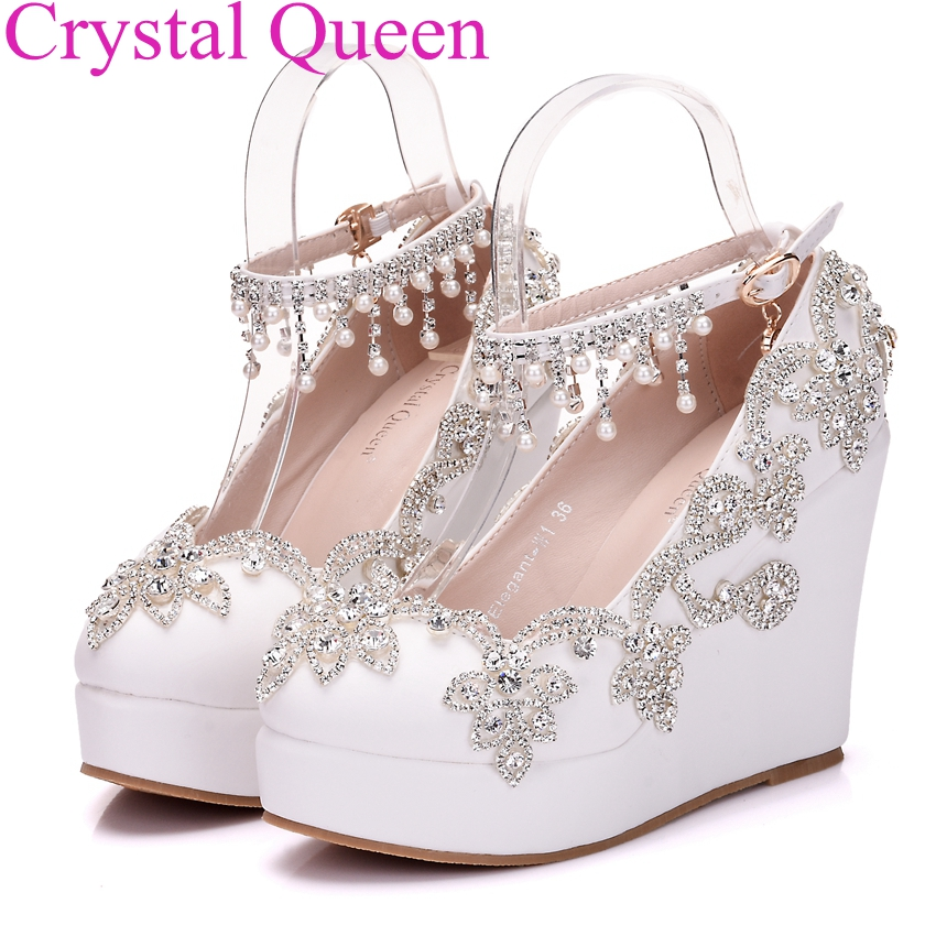 aliexpresscom buy fashion rhinestone wedges pumps heels