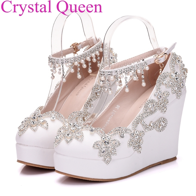 Aliexpress.com : Buy Fashion rhinestone wedges pumps heels ...