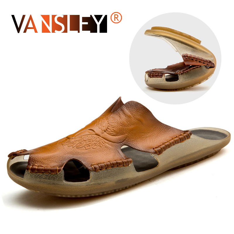 Summer Breathable Men's Sandals Soft Leather Casual Shoes  Comfortable Flats Man Slippers Roman Style Beach Sandals
