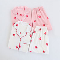 Short Sleeve Cotton Yarn Women Summer Pajamas Set Pink Strawberry Lady Shorts Sleepwear White Pijamas Suit Sleep Wear Pyjamas