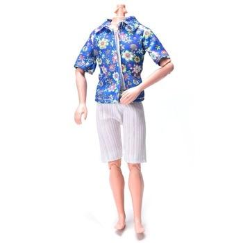 Luxury Flower Print Jean Shorts Summer Clothes for Ken T-Shirt+White