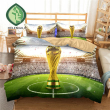HELENGILI 3D Bedding Set football Football Print Duvet cover set lifelike bedclothes with pillowcase bed set home Textiles ZQ-3
