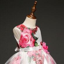 Berngi Big Rose Flower Print Girl Dress