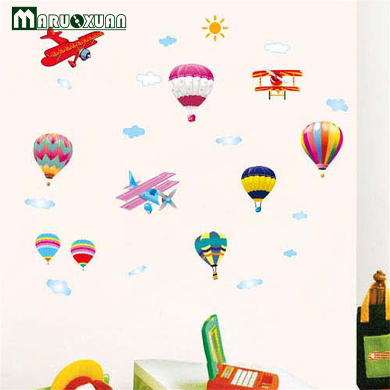 2017 Rushed Hot Air Balloon Wall Stickers Removable Wallpaper Self Adhesive  Flowers Animation Kindergarten Childrenu0027s Room Home  In Wall Stickers From  Home ...