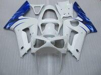 Injection moule en plastique ABS carénage kit pour Kawasaki Ninja ZX6R 03 04 blanc bleu carénages ensemble ZX6R 2003 2004 OT32