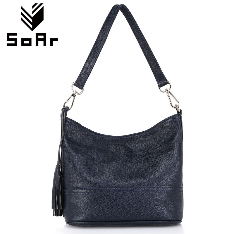 SoAr Genuine leather women messenger bags handbags women famous brands shoulder bags tassel bucket bag fashion crossbody bags 4 genuine leather fashion women handbags bucket tote crossbody bags embossing flowers cowhide lady messenger shoulder bags