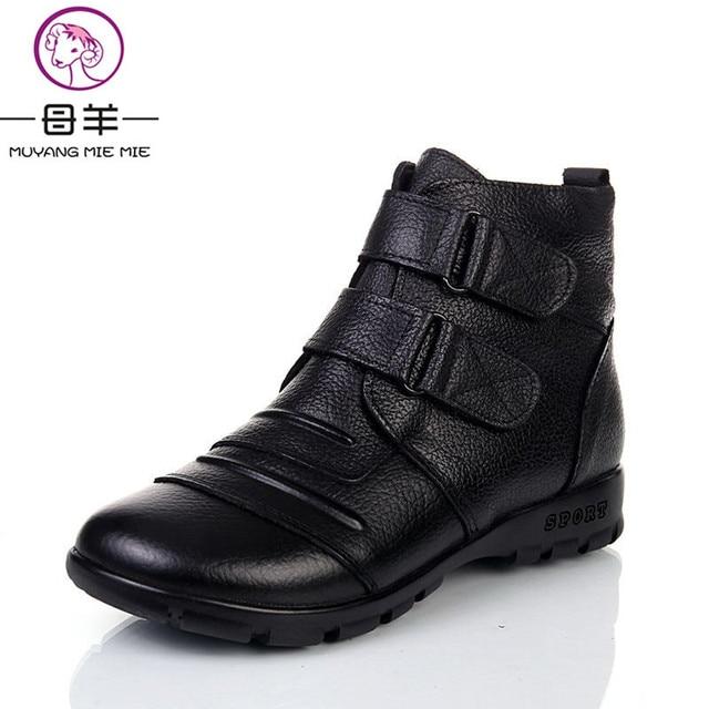 buy popular d2cc7 dfaee US $11.92 25% di SCONTO|MUYANG Cinese Marche genuino stivali di pelle delle  donne, scarpe donna delle donne di Inverno Caldo scarpe madre tacco piatto  ...