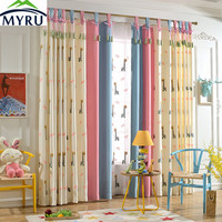 Children Cartoon Cute Giraffes Embroidered Cloth Curtain Cotton And Linen Children Bedroom Cloth Curtain Blockout Cloth