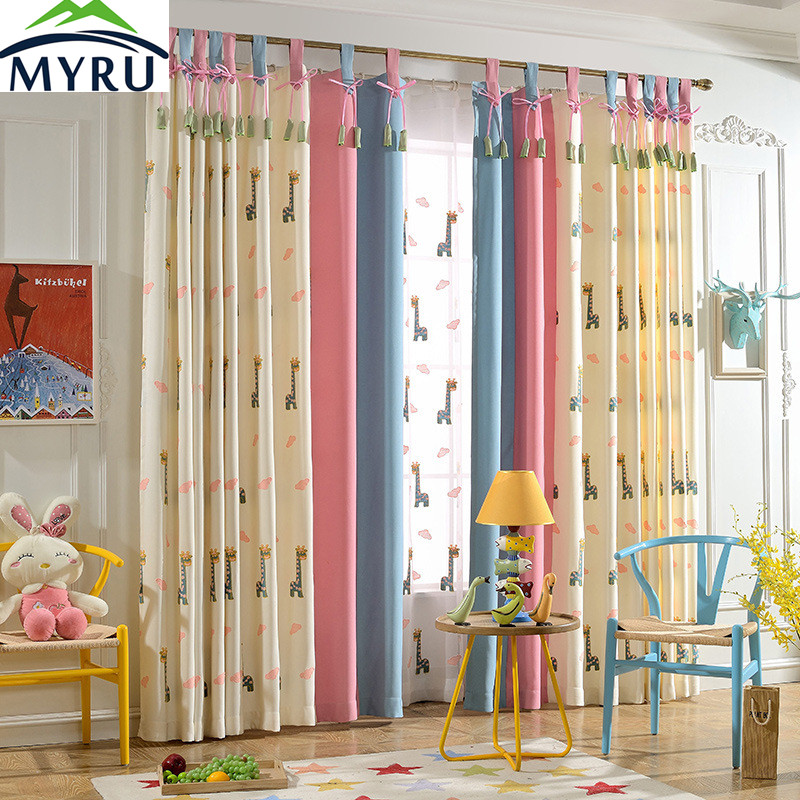 MYRU Cartoon Cute Giraffes Embroidered Cloth Curtain Cotton And Linen Children Bedroom Cloth Curtain Blockout Cloth Curtain