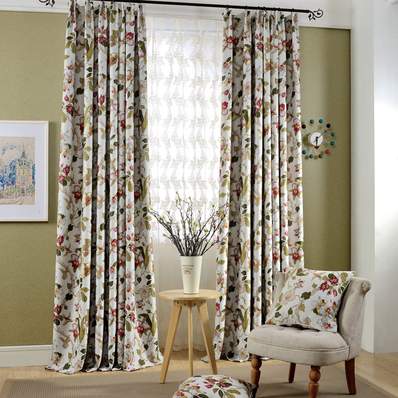 The New High-grade Woven High Precision Window Shade Special Selling Rural Printing Curtains for Living Dining Room Bedroom