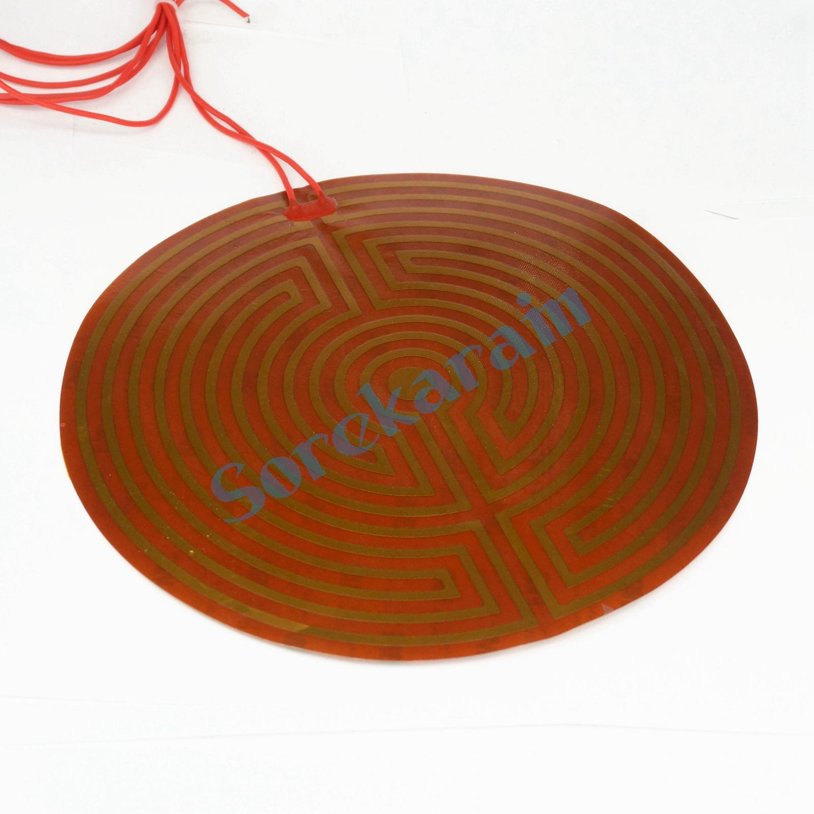 220mm 240W 24V DC Flexiable Round Eeletric Polyimide Film Heater Heating element for Electrical Wires 100x100mm 12v 90w element heating pan pi film heating film polyimide heater heat rubber electric element for 3d printer plate