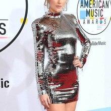 Hot Celebrity Paillettes Vestito Sexy Glitter Guaina Taylor Del Partito di Sera Del Vestito A Maniche Lunghe Metallic Vestito Convenzionale eDressU HZ 6337