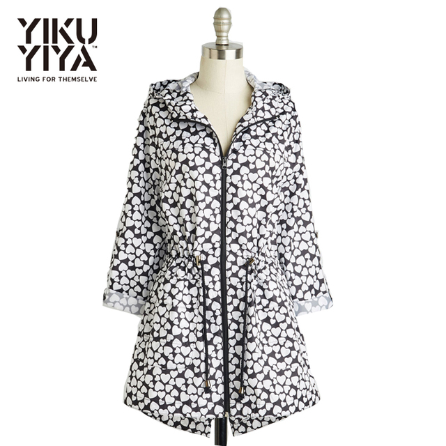 YIKUYIYA  New Fashion Spring 2017 Loving Heart Lapel Neck Long Sleeve Woman Coat Straight Zipper Hooded Floral Street Style