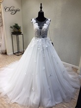 Sexy Luxury Wedding Dresses Lace Pearls V-Neck Off-Shoulder Detachable Train Applique Bridal Gown With Belt Robe De Mariage