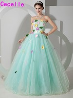 Colorful Mint Long Ball Gown Prom Dresses Sweetheart Pleats Organza Flowers Teens Formal Princess Prom Gowns Custom Made Real