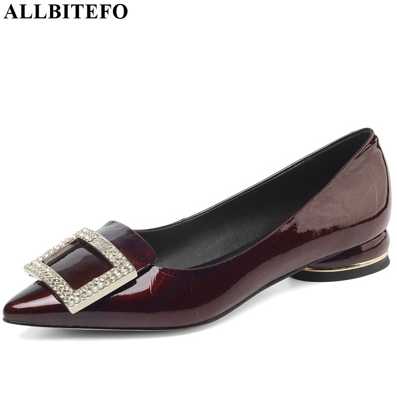 ALLBITEFO Real Genuine Leather Women Heels High Thick Heel Shoes Spring Autumn Square Buckle Rhinestone High Heel Shoes