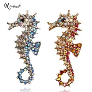 RINHOO Animal Brooch Decoration Garment Corsage Rhinestones Red Blue Sea Horse Swim Hippocampus Brooches Women Men jewelry pins