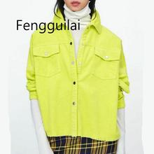 2019 Spring Women Bright Green Color Corduroy Jacket Loose Single Breasted Coat Fashion Button Down Tassel