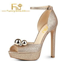 d2a420c228e8c3 Golden Sparkly Heels Rhinestone Glitter Shoes Ankle Strap Sandals Bling  Generous Incomparable Attractive Fashion Sexy Noble