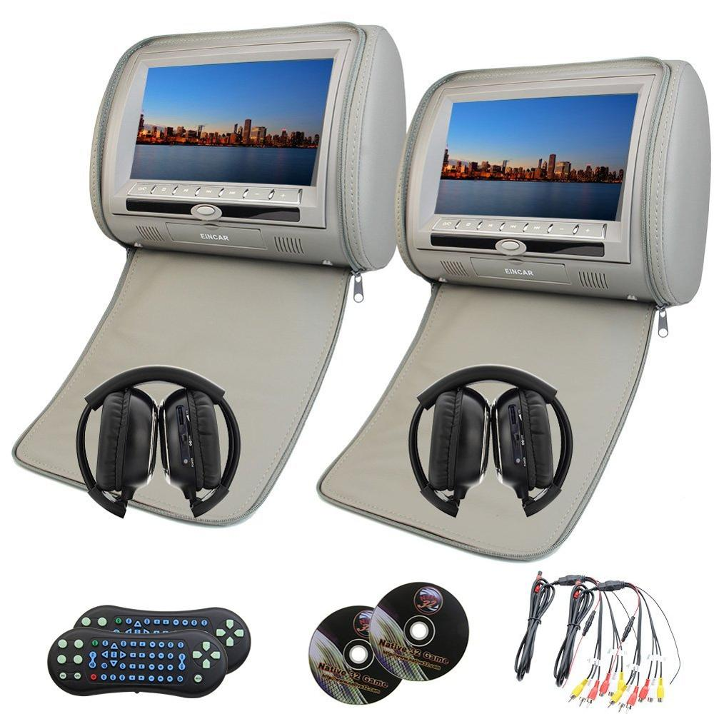 купить 2 pcs 9 inch LCD Dual Screen Headrest DVD video player USB/SD/DVD/CD/MP3/MP4 Car pc entertainment FM IR Headrest+2 IR headphones по цене 12554.38 рублей