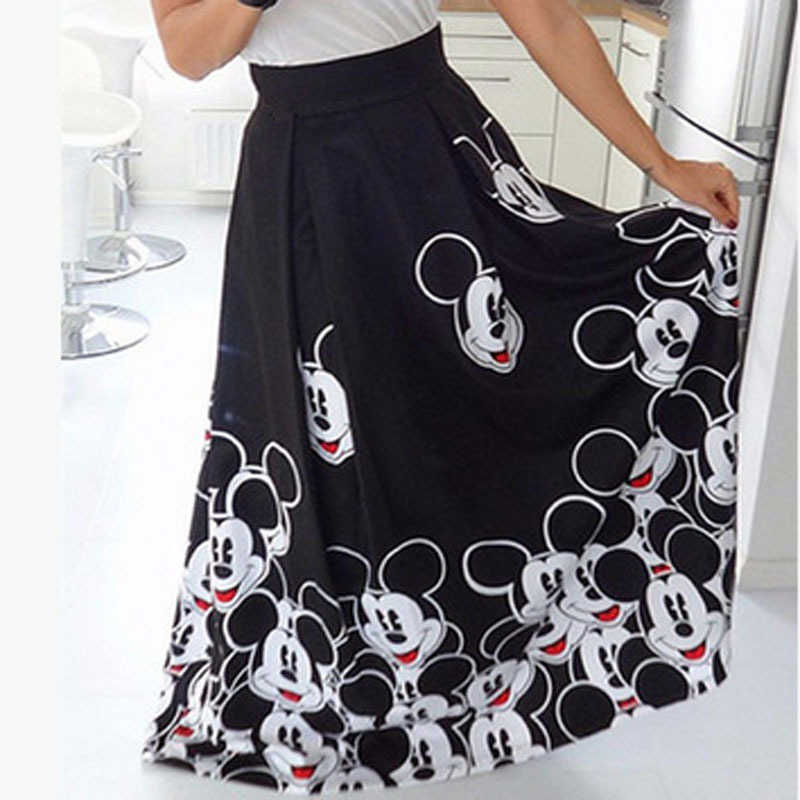 Moda Mickey Maxi Falda larga Mujer 2019 larga elástica alta cintura musulmana Kawaii mujer elegante plisado impreso dibujos animados faldas