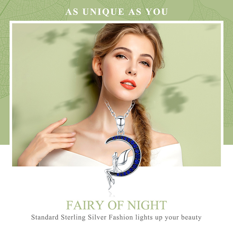 HTB1.fnpe8jTBKNjSZFNq6ysFXXaH BAMOER Hot Sale 100% 925 Sterling Silver Lucky Fairy in Blue Moon Pendant Necklaces Women Sterling Silver Jewelry Gift SCN244