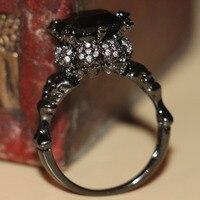 Victoria Wieck Vintage Jewelry Round Cut 10kt Black Gold Filled Sapphire CZ Diamond Wedding Finger Skull