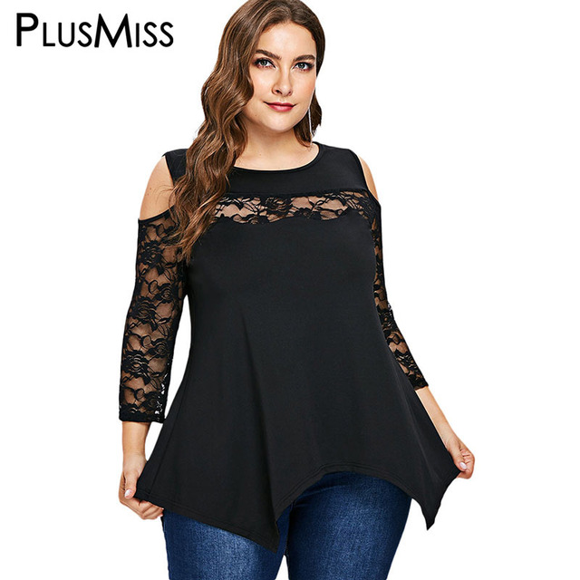 69d4f4bc17eefb PlusMiss Plus Size Sexy Floral Lace Long Sleeve Blouse Women Big Size  Vintage Retro Mesh Cold Shoulder Tunic Tops Ladies 2018