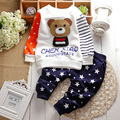 2017 New cotton autumn children baby clothing set infant boys girls Embroidery bear suits shirt+pants sets for Roupas de bebe
