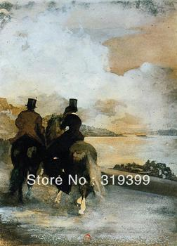 Oil Painting Reproduction on Linen Canvas,Two Riders by a Lake by edgar degas ,Free DHL Shipping,100%handmade