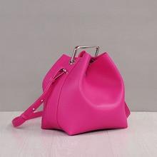 Luxury Famous Designer Square buckle bucket bag women Genuine leather handbag lady shoulder cross bags