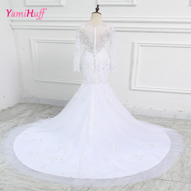 Vintage Lace Long Sleeve Wedding Dresses White Arab Couture Mermaid ...