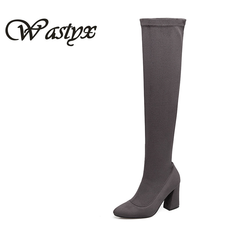 Wastyx Gray Womens Micro Suede Thigh High Boots Block Thick Heel Stretch Over The Knee -8784