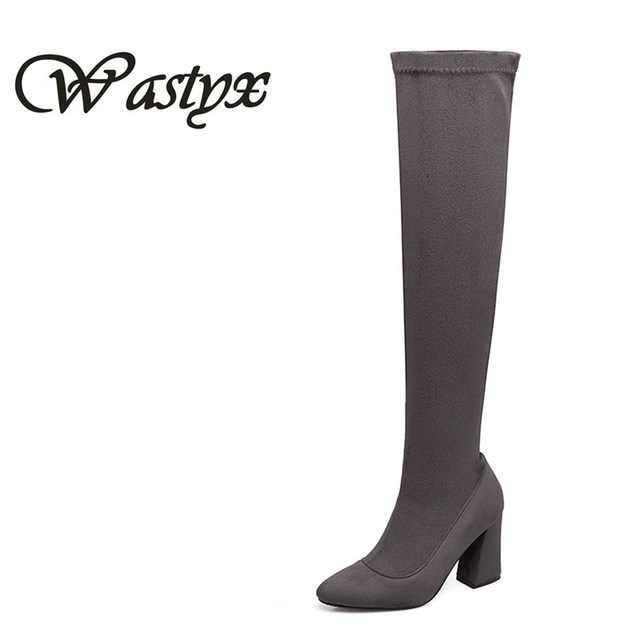 Wastyx Gray Womens Micro Suede Thigh High Boots Block Thick Heel Stretch Over The Knee For Woman Plus Size Beige