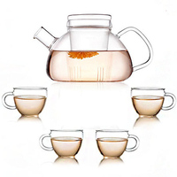 Heat resistant glass flowers and coffee set herb tea special with filter glass tea set dd004