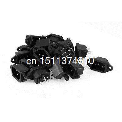 20 x Black Plastic Shell IEC 320 C14 3Pin Screw Mount Power Inlet Socket AC 250V black fuse switch holder iec 320 c14 3pin screw type power inlet socket ac 250v